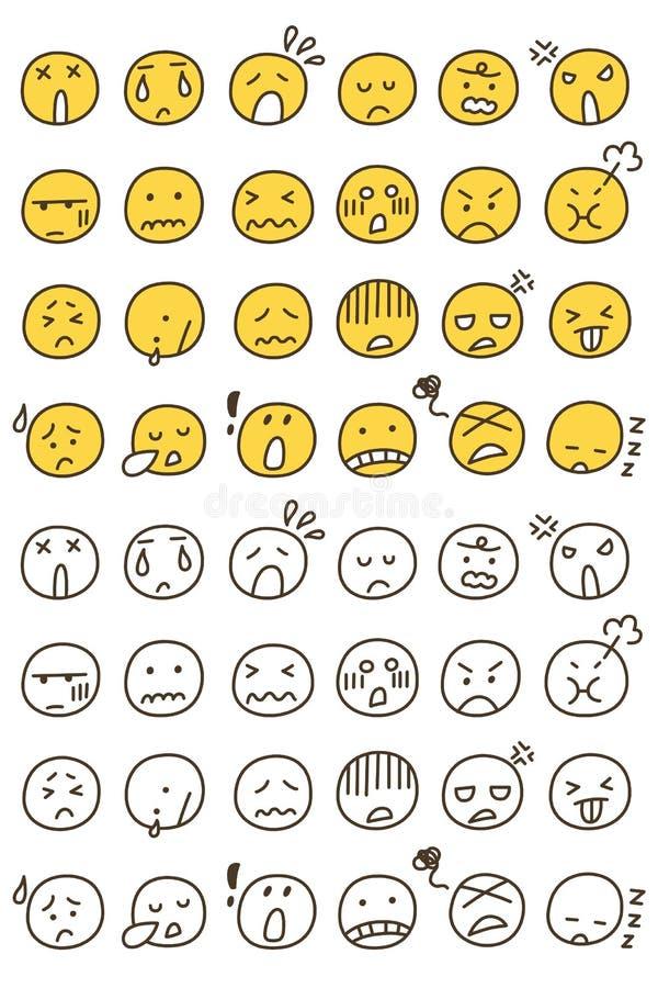 Set ręka Rysujący Różnorodny Emoticons Doodle royalty ilustracja