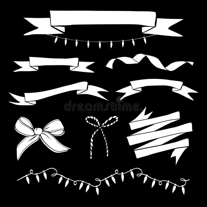 Set ręka rysujący roczników faborki, bożonarodzeniowe światła Biała odosobniona kreda protestuje na blackboard również zwrócić co ilustracja wektor