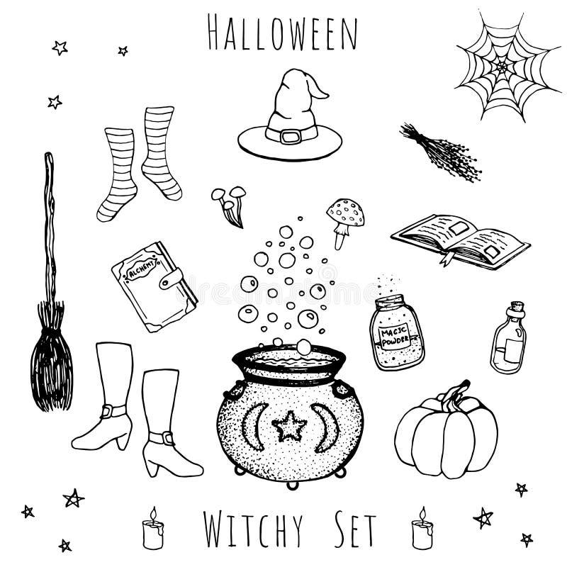 Set ręka rysujący wektorowi Halloween elementy royalty ilustracja