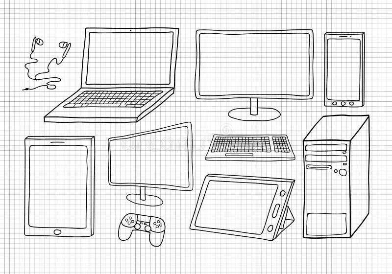 Set ręka rysujący wektorowi wizerunki urządzenia elektroniczne royalty ilustracja