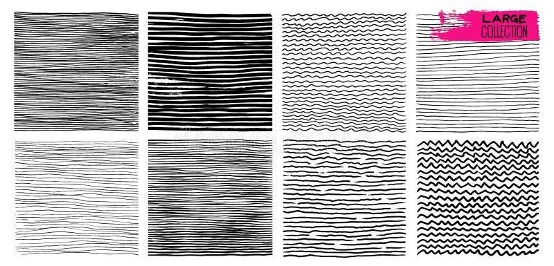 Set ręka rysujący wzór z abstrakcjonistyczna ręka rysować liniami, uderzenia, grunge szczotkuje Falisty pasiasty r?wnie? zwr?ci?  royalty ilustracja