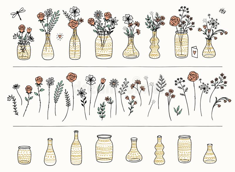 Set ręka rysujący złoto i kwiaty deseniował wazy ilustracji