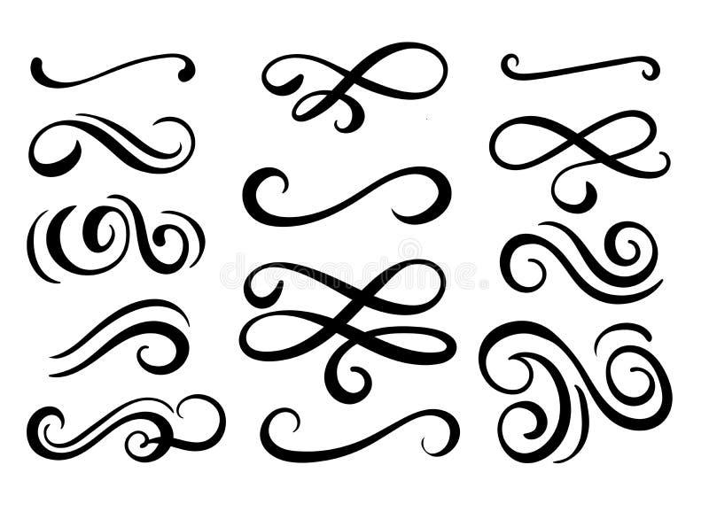Set ręka rysujący zawijasów elementy royalty ilustracja
