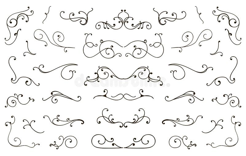 Set ręka rysujący zawijasów elementy, rocznik projektował kaligraficznych zawijasy royalty ilustracja