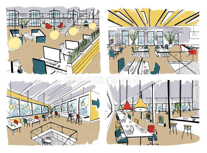 Set ręka rysuję coworking Nowożytni biurowi wnętrza, otwarta przestrzeń workspace z komputerami, laptopami, oświetleniem i miejsc ilustracja wektor