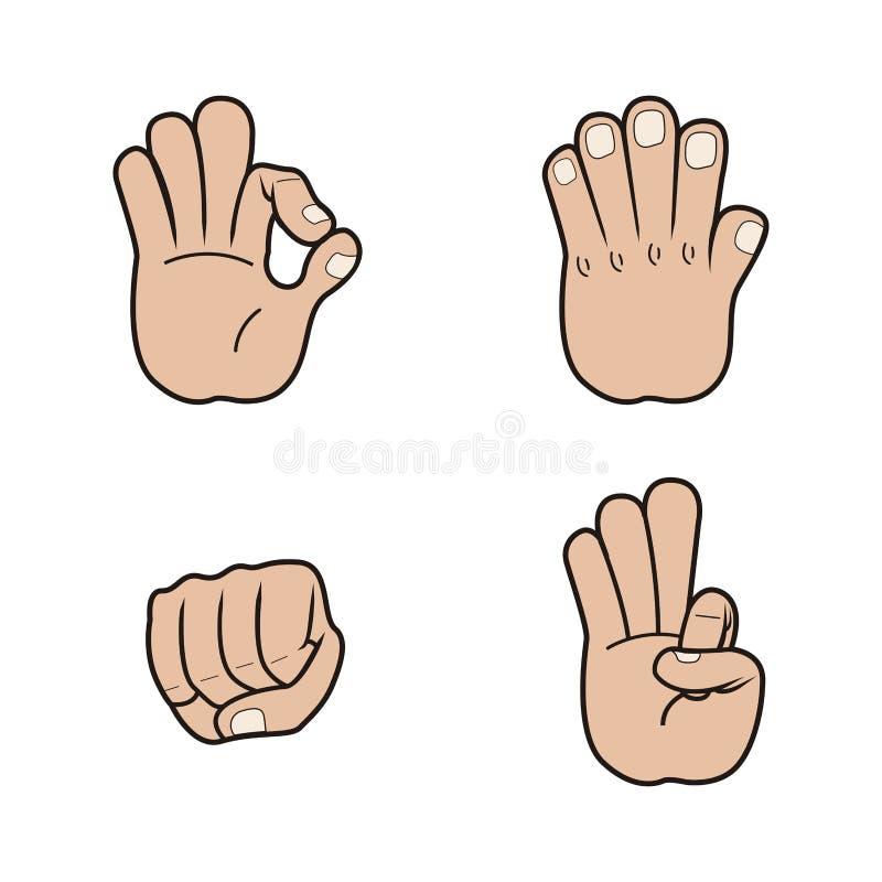 Set ręka sygnały royalty ilustracja