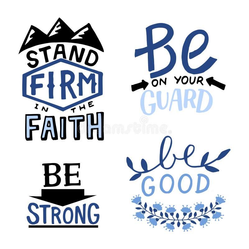 Set 4 ręki literowania wycen stojaka chrześcijańska firma w wiarze Jest na Tw?j stra?niku silny Dobry ilustracja wektor
