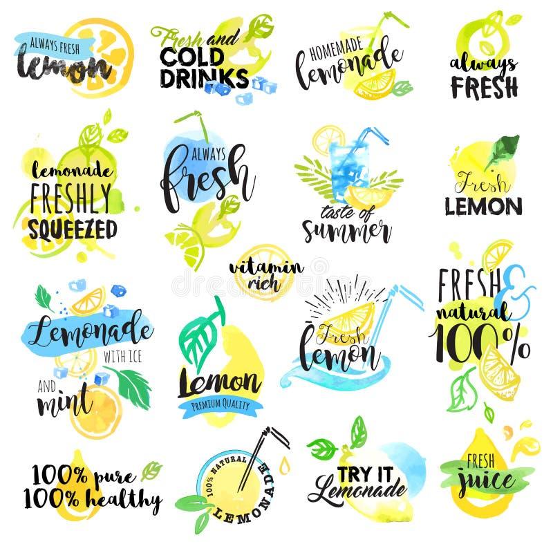 Set ręki rysować akwareli etykietki i znaki cytryna i lemoniada ilustracja wektor