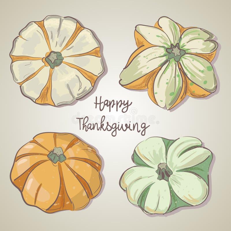 Set ręki rysować banie jesień inkasowy kolorowy kabaczka stół Ręka rysujący wektorowy doodle set ilustracji