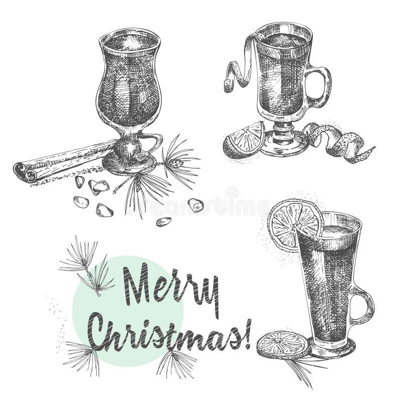 Set ręki rysować Bożenarodzeniowe zim pikantność wzór i szkła tradycjonalnie gorąca zima pije Rozmyślający wino, jajecznik, grog, ilustracja wektor