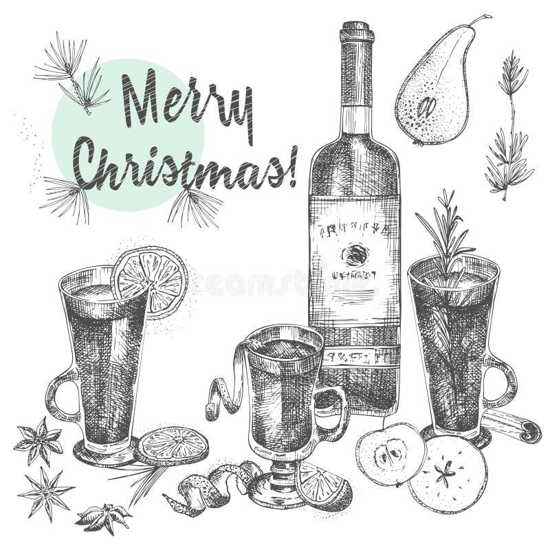 Set ręki rysować Bożenarodzeniowe zim pikantność wzór, szkła tradycjonalnie gorący zima napoje i wino butelka, Dobry pomys? dla ilustracji