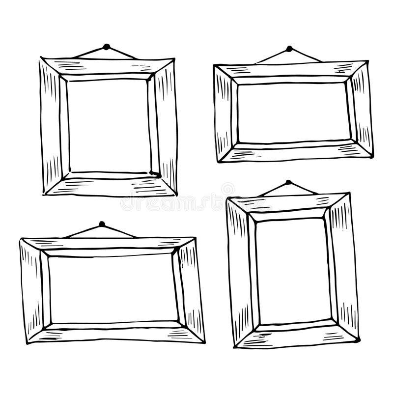 Set ręki rysować doodle ramy. ilustracja wektor