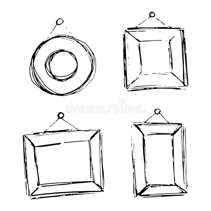 Set ręki rysować doodle ramy. ilustracji