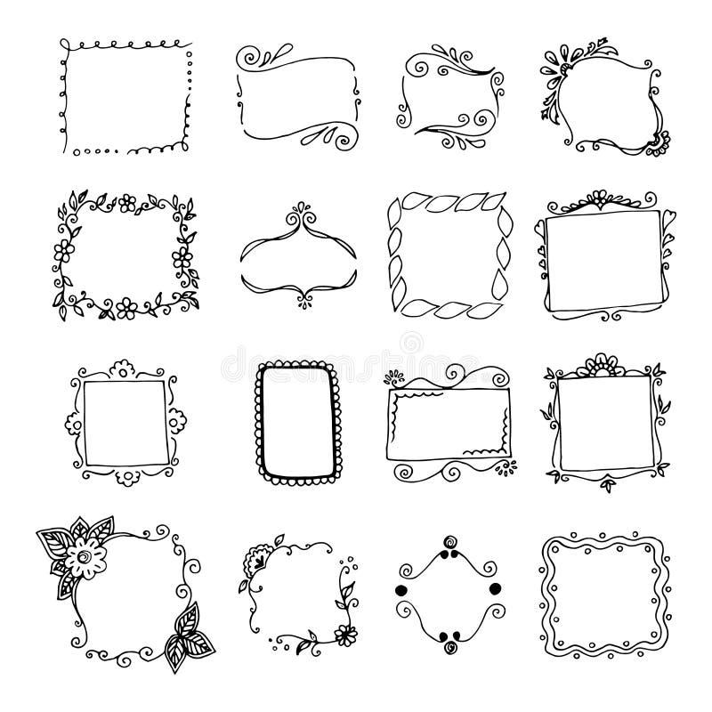 Set ręki rysować doodle ramy. royalty ilustracja