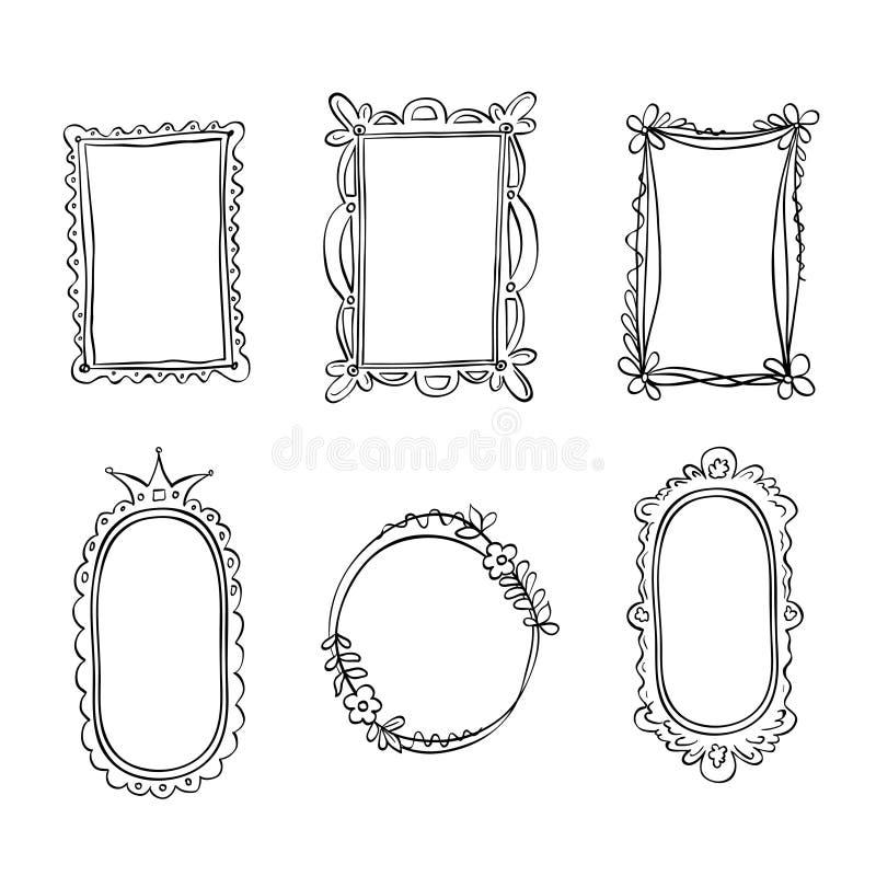 Set ręki rysować doodle ramy ilustracja wektor