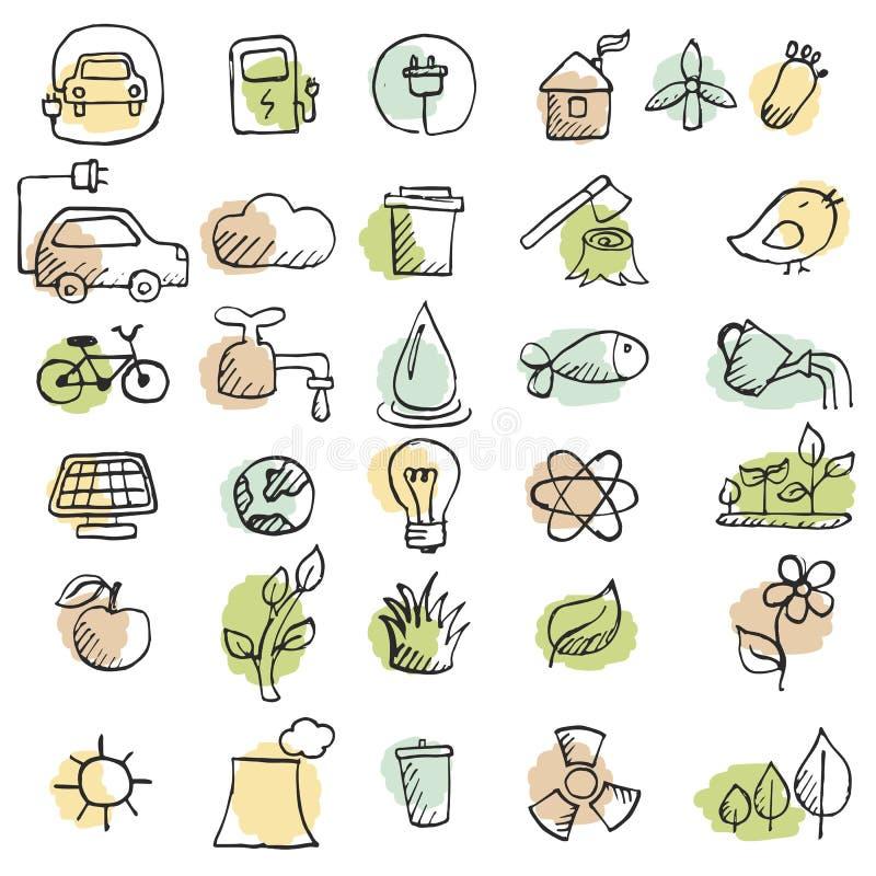 Set ręki rysować eco ikony royalty ilustracja