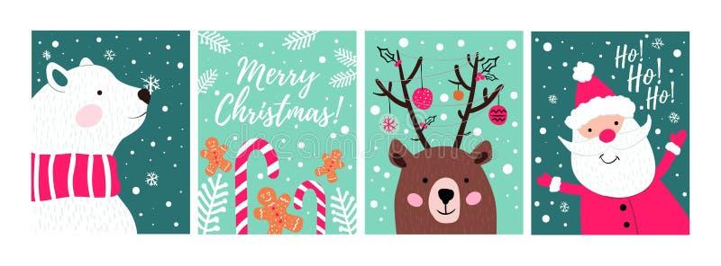 Set ręki rysować kartki bożonarodzeniowe z cukierkami, ciastkami, niedźwiedziem i Santa, Weso?o bo?ych narodze? kartka z pozdrowi ilustracji