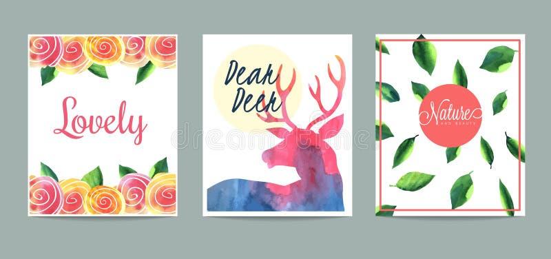 Set ręki rysować kreatywnie karty ilustracji