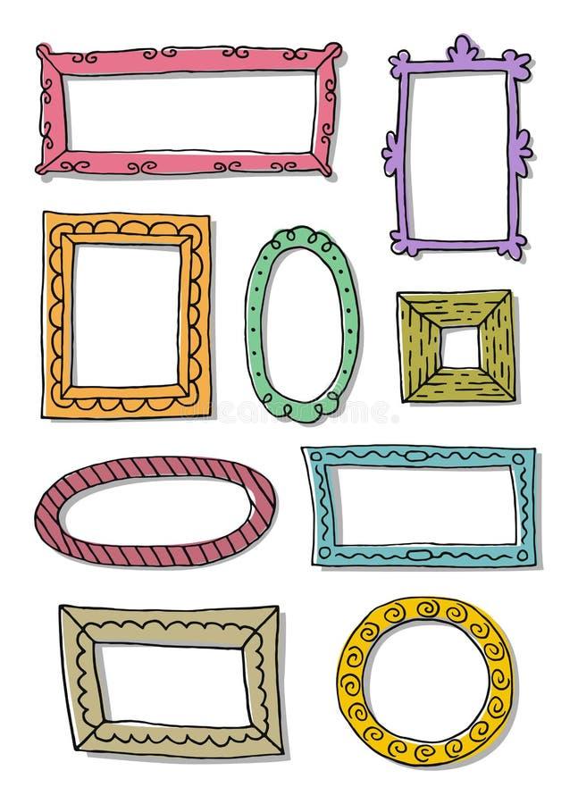 Set ręki rysować nakreślenie ramy ilustracji