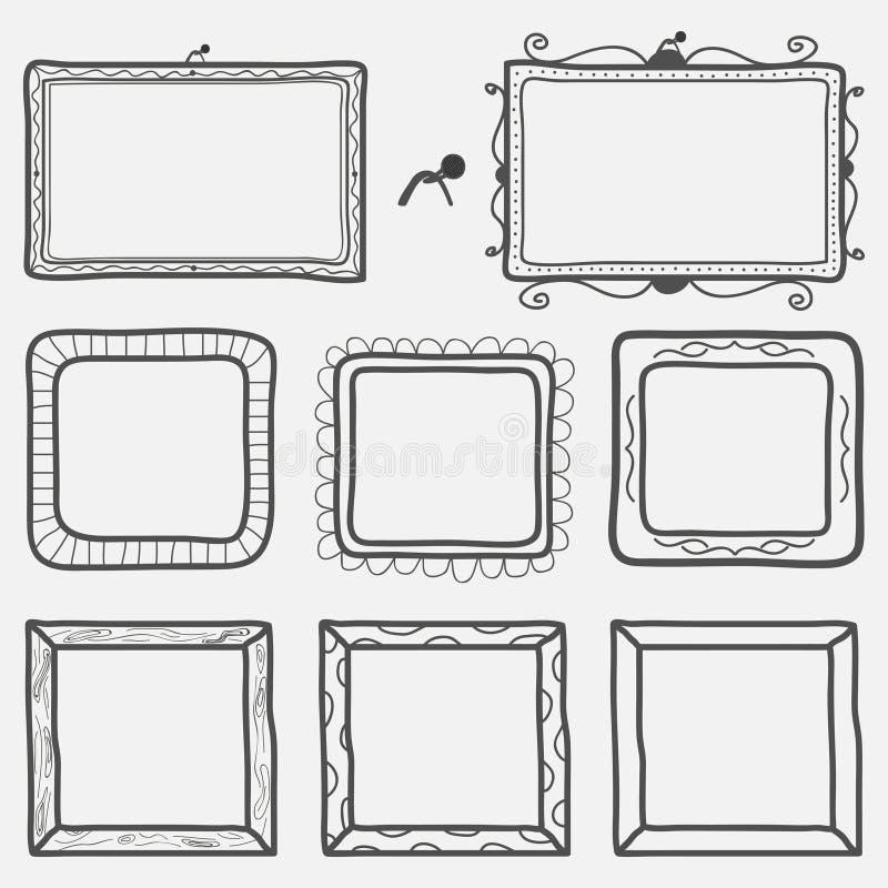 Set ręki rysować obrazek ramy również zwrócić corel ilustracji wektora ilustracji