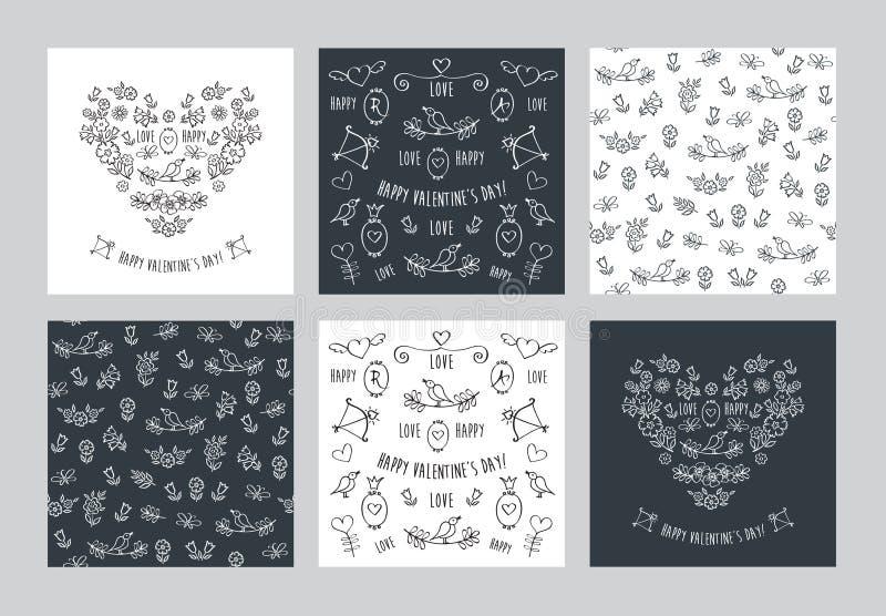 Set ręki rysować rocznik kwieciste karty i bezszwowi wzory ilustracji