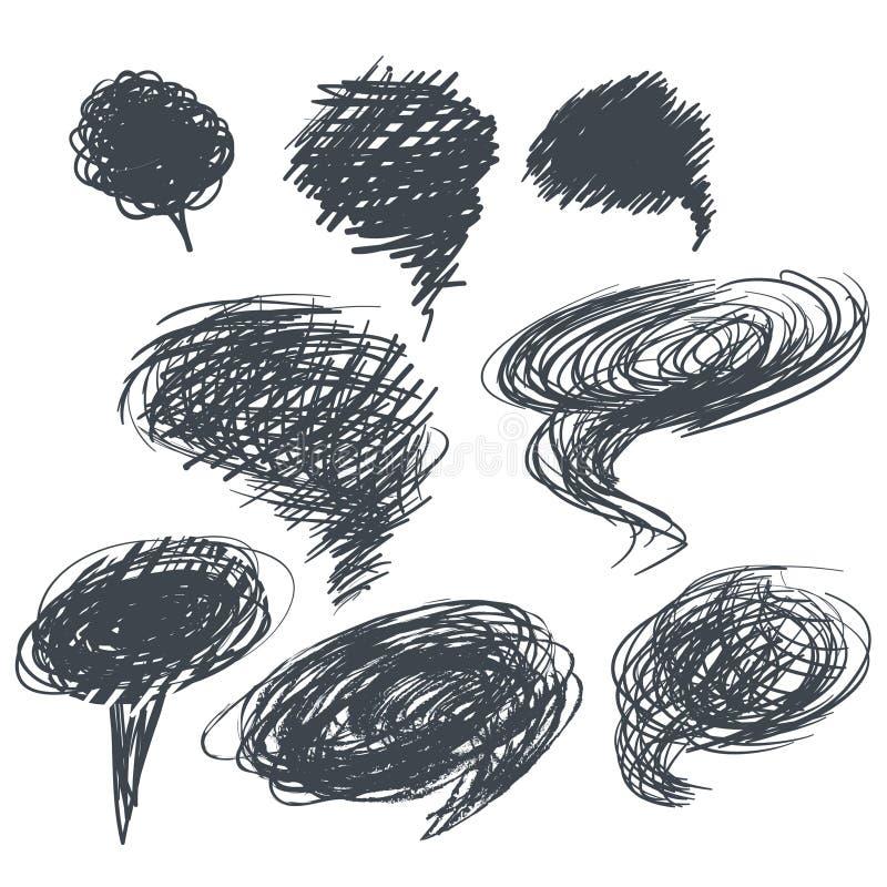 set ręki rysować skrobanin ramy Nakreślenie, elementy dla twój projekta royalty ilustracja