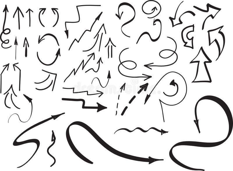 Set ręki rysować strzała i inni elementy na bielu, również zwrócić corel ilustracji wektora obrazy royalty free