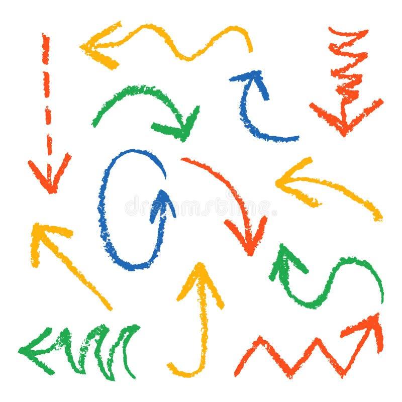 Set ręki rysować wosk kredki zabawy kolorowe strzała Wręcza obraz czerwień, błękit, kolor żółty, zieleń projekta elementy ilustracja wektor