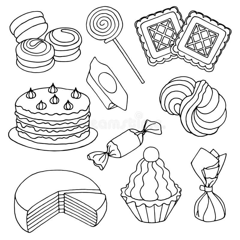 Set ręki rysujący nakreślenia cukierki, ciastka i torty, royalty ilustracja