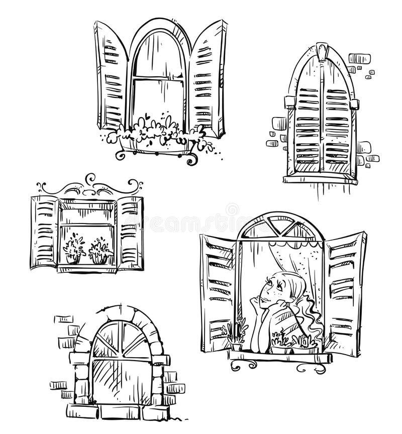 Set ręki rysujący okno, wektorowa ilustracja royalty ilustracja