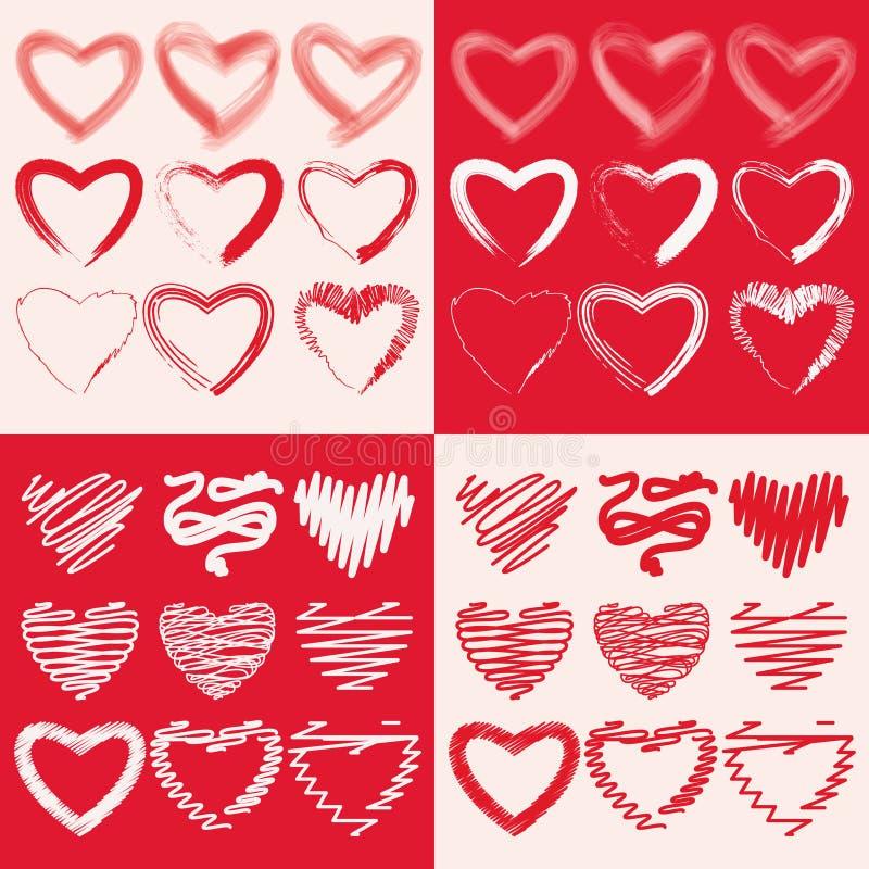 Set ręki rysujący szkicowi serca Wektorowe grunge stylu ikony inkasowe royalty ilustracja