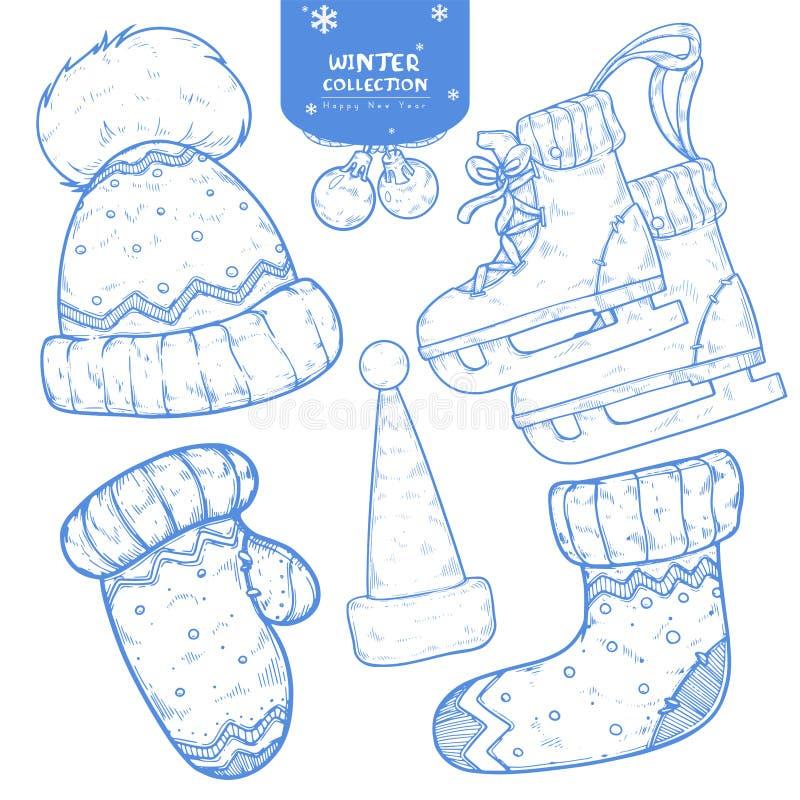 Set ręki rysujący zima wakacje nakreślenia royalty ilustracja