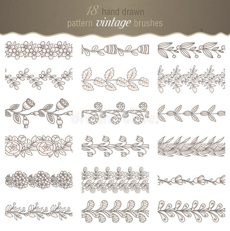 Set 18 ręki rysujących deseniowych kwiecistych muśnięć royalty ilustracja