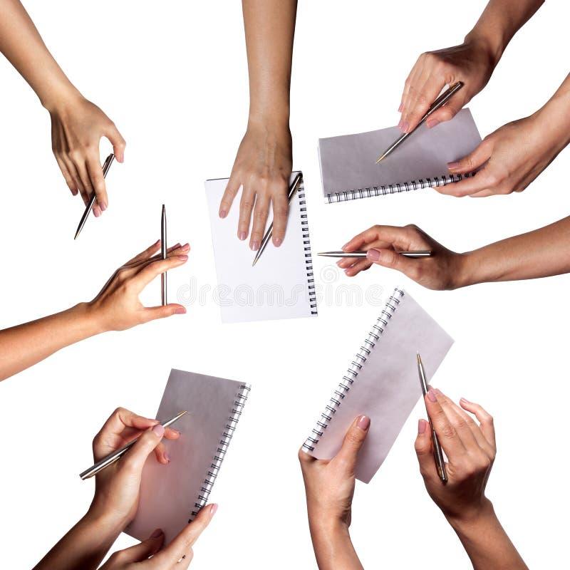 Set ręki rysuje piórem odizolowywającym na białym tle zdjęcia stock