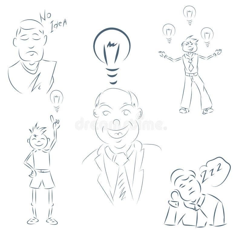 Set ręki rysunkowego postać z kreskówki szczęśliwa biznesowa osoba eps ilustracji