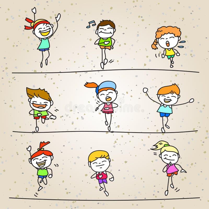 Set ręki rysunkowej kreskówki szczęśliwi dzieciaki biega maraton royalty ilustracja
