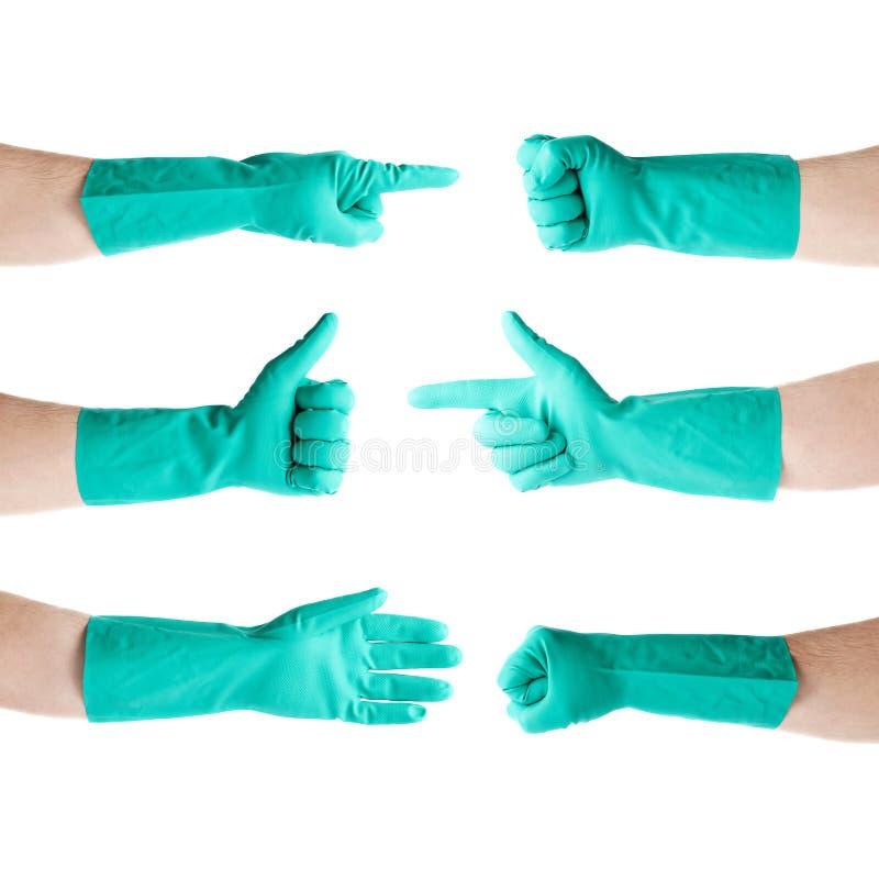 Set ręki w gumowej lateksowej rękawiczce nad białym odosobnionym tłem obraz stock
