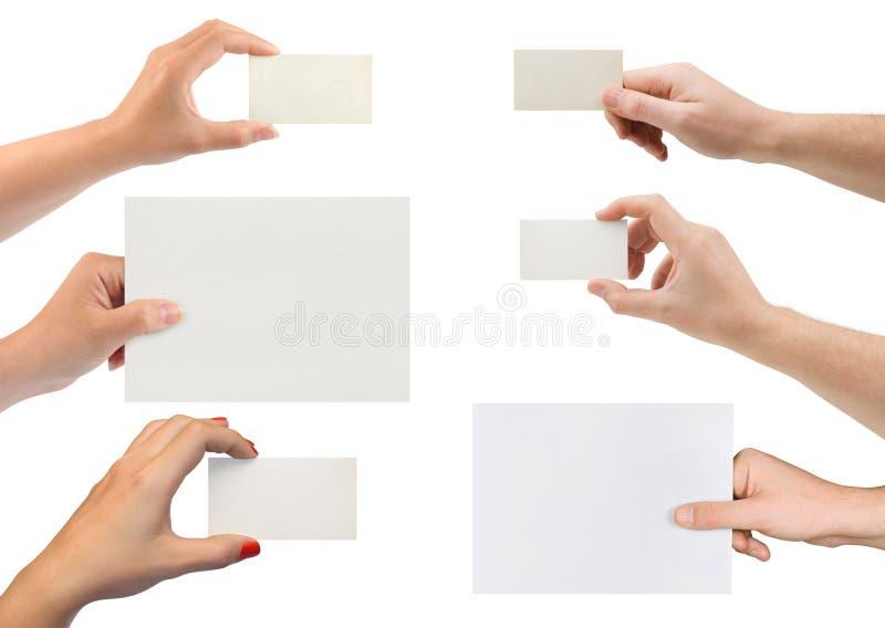 Set ręki z papierową kartą fotografia stock