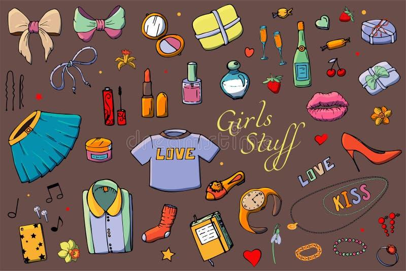 Set r?ka rysuj?ca szablon mody ilustracja z dziewczynami Faszeruje Set odzie?, bi?uteria, kosmetyki, prezenty i romans kobiet, ilustracja wektor