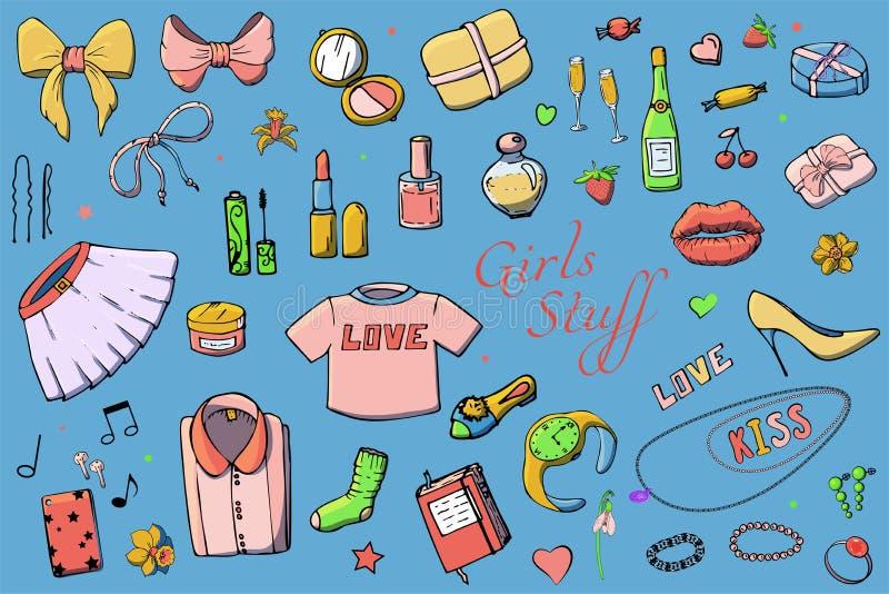 Set r?ka rysuj?ca szablon mody ilustracja z dziewczynami Faszeruje Set odzie?, bi?uteria, kosmetyki, prezenty i romans kobiet, royalty ilustracja