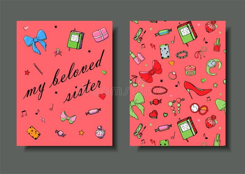 Set r?ki rysowa? szablon mody karty z dziewczyn rzeczami, romantycznymi przedmiotami i zwrotami, Poczt?wki z kobiety odzie??, ilustracja wektor