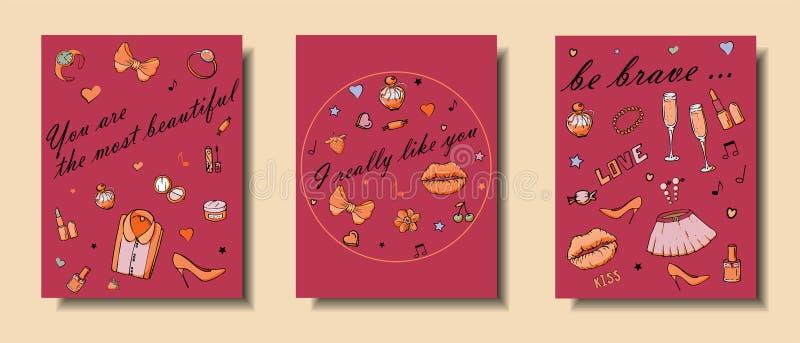 Set r?ki rysowa? szablon mody karty z dziewczyn rzeczami, romantycznymi przedmiotami i zwrotami, Poczt?wki z kobiety odzie??, royalty ilustracja
