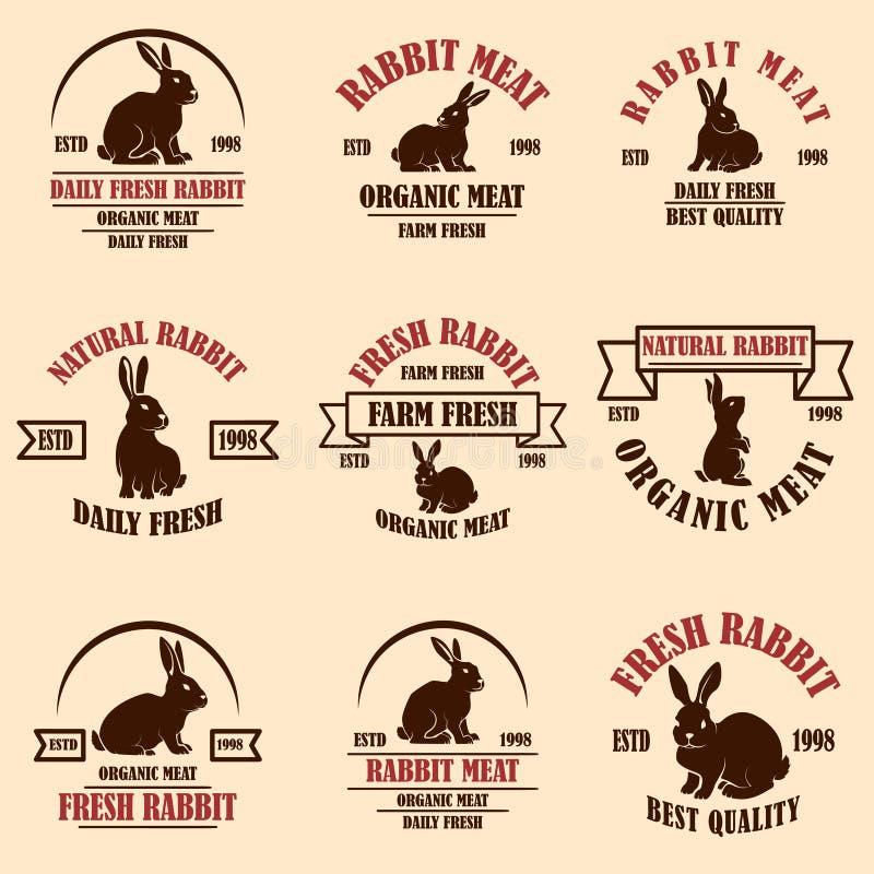 Set Of Rabbit Meat Emblems . Design Element For Logo, Label