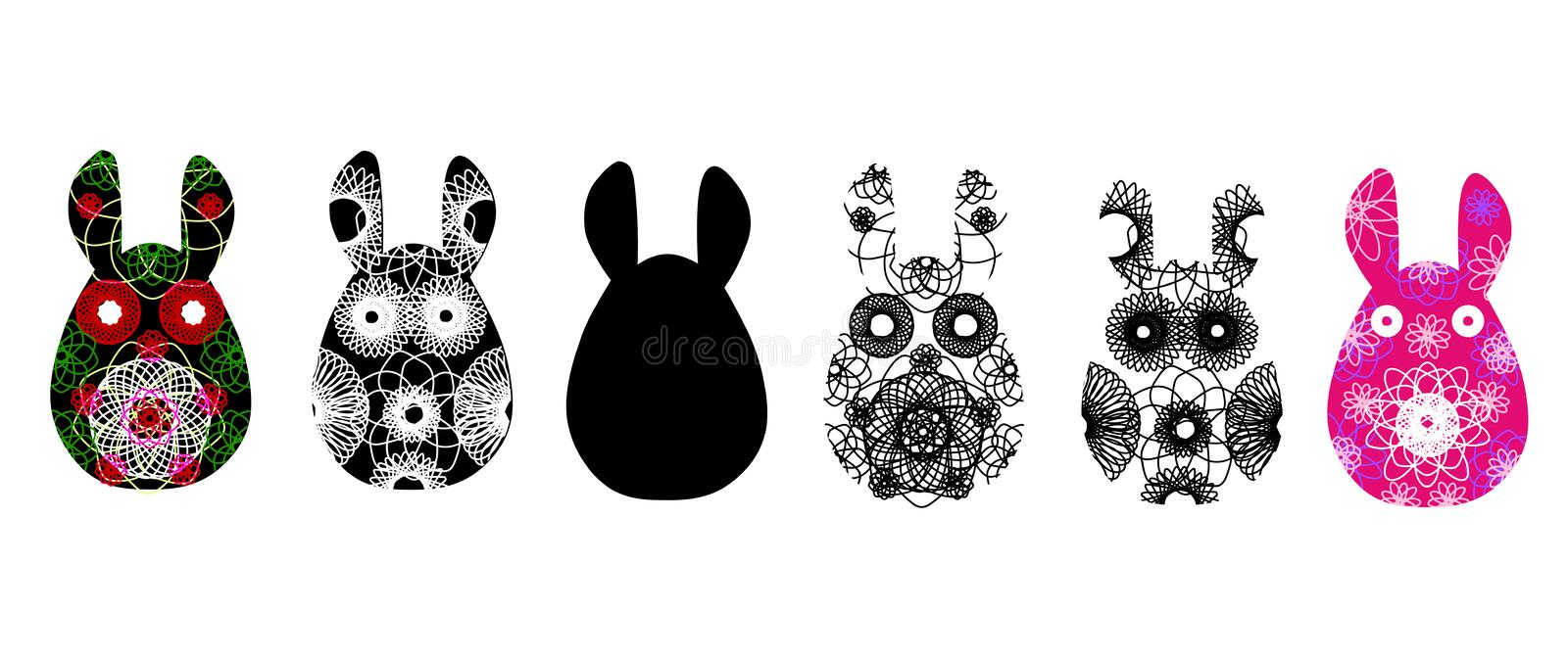 Set of rabbit silhouettes with a contrasty abstract pattern. Vector illustration isolated on white background. Unusual bunny for t vector illustration