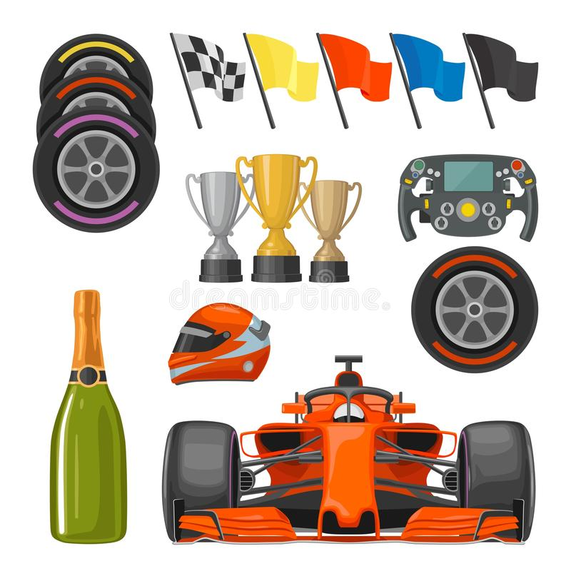 Set race flat icons. Helmet, champagne, cup, flag vector illustration
