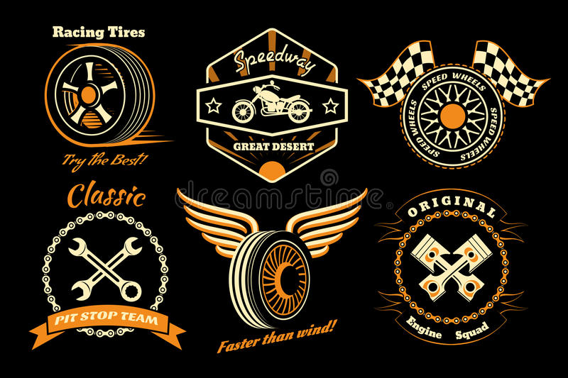 Set of racing badge stock illustration