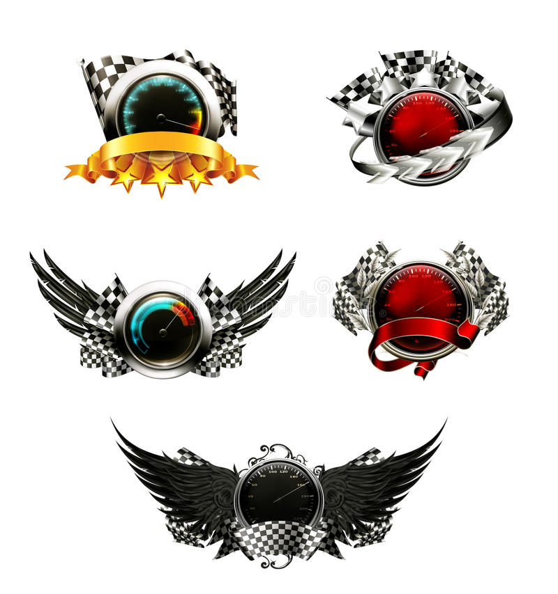 Set of racing emblems vector illustration