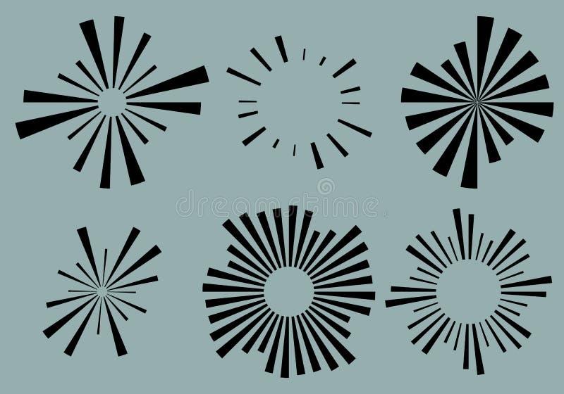 Set 6 radial lines, rays, beams elements. Various starburst, sun. Burst shapes with irregular lines - Royalty free vector illustration royalty free illustration