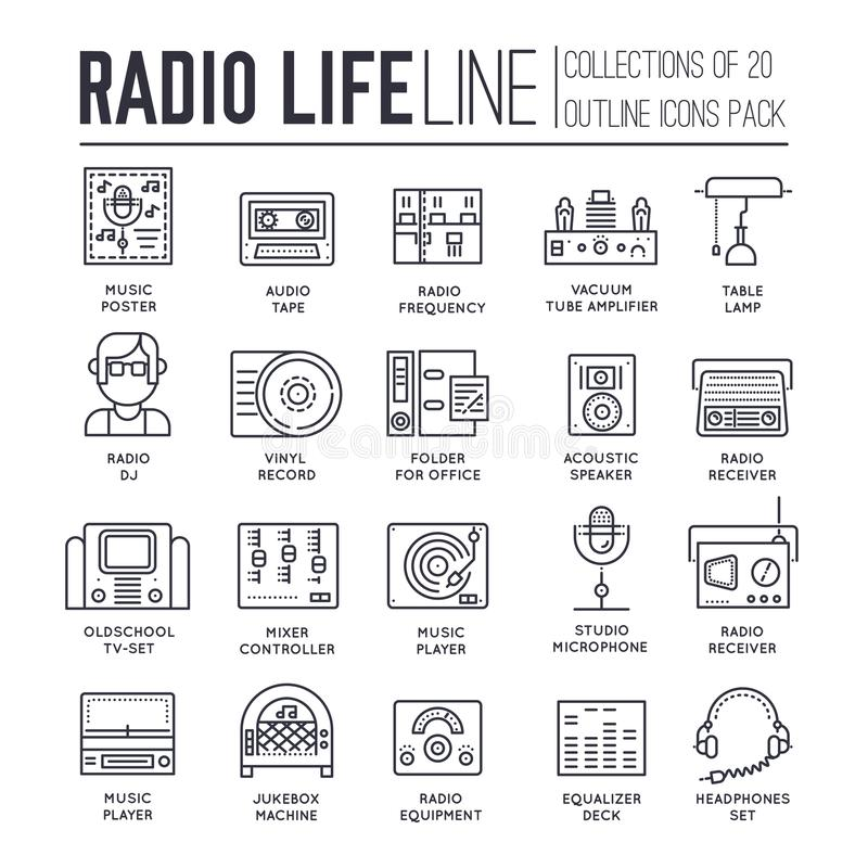 Set of radio life, sound devices thin line icons. Set of radio life thin line icons isolated on white background. Old and modern music players outline pictograms stock illustration