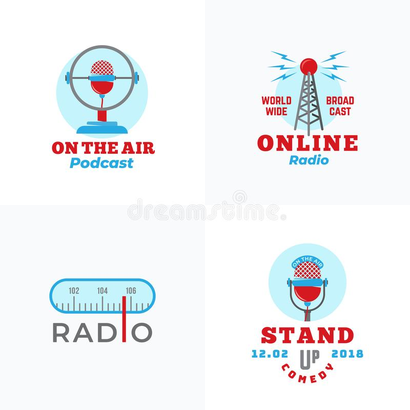 A set of Radio Vector Emblems. Abstract Broadcast Tower, Podcast or Stand Up Comedy Microphone Signs or Logo Templates. Radio Scale and On the Air Symbols vector illustration